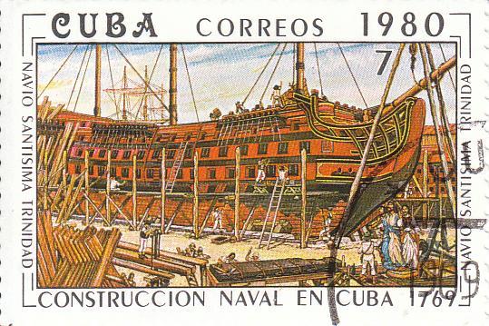 "Марка поштова гашена. ""Navío ""Santísima Тrinidad"". L᾽construccion naval en Cuba 1769"". Республіка Куба. 1980"
