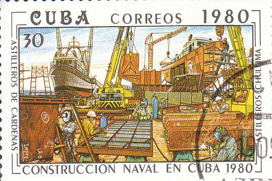 "Марка поштова гашена. ""Astilleros de Cardenas. Astilleros Chullima"". L᾽construccion naval en Cuba 1769"". Республіка Куба. 1980"