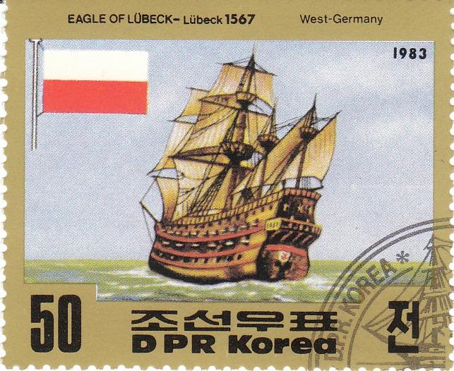 "Марка поштова гашена. ""Eagle of Lubeck - Lubeck 1567. West Germany"". 1983"