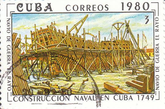 """Марка поштова гашена. """"Navio de guerra el Rayo"""". L᾽construccion naval en Cuba 1769"""". Республіка Куба. 1980"""