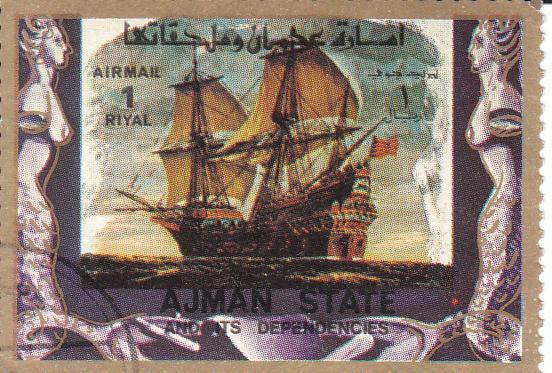 """Марка поштова, гашена. """"Ajman state and its dependencies"""". """"Old and modern ships"""". Емірат Аджман. Об'єднані Арабські Емірати"""