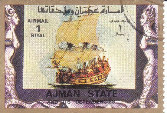 """Марка поштова гашена. """"Ajman state and its dependencies"""". """"Old and modern ships"""". Емірат Аджман. Об'єднані Арабські Емірати"""