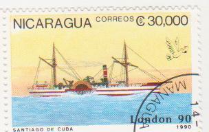 """Марка поштова гашена. """"Santiago de Cuba"""". """"London 90"""". Nicaragua"""""""
