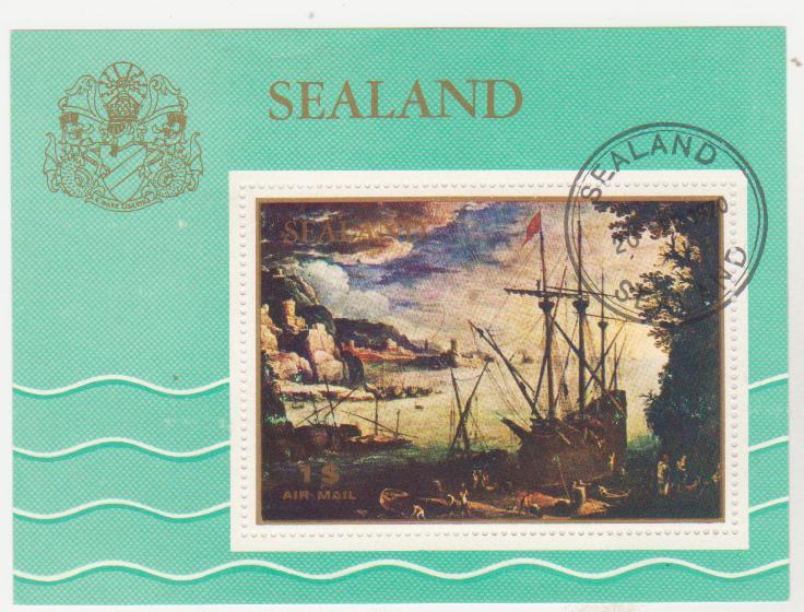 """Блок - марка поштовий гашений. """"Sealand"""". Князівство Сіландія (Принципат Сіландія)"""
