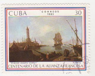 "Марка поштова гашена. ""Claude Joseph Vernet ""Puerto"". Centenario de la Alianza Francesa. Cuba"""