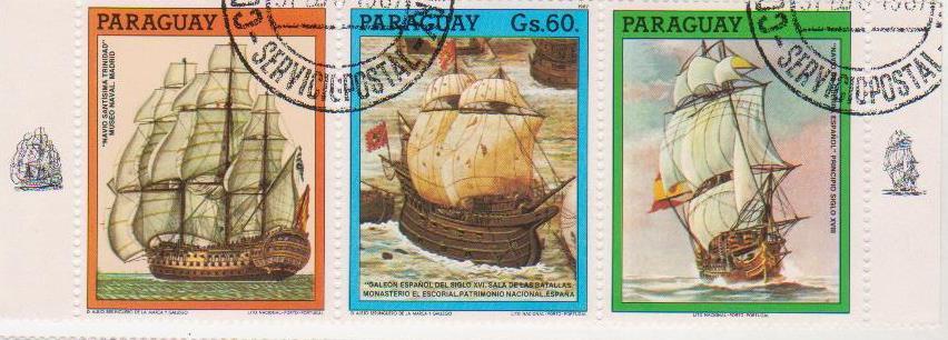 """Частина блоку марок поштових гашених. """"Lito Nacional Porto – Portugal. Paraguay"""""""