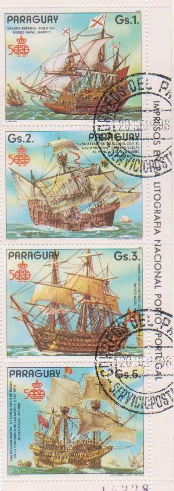 "Частина блоку марок поштових гашених. ""500th ann. of the discovery of America: Sailing ships"". ""Impresos en la litografia Nacional Porto – Portugal. Paraguay"""
