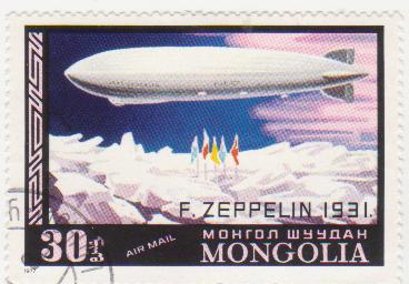"""Марка поштова гашена. """"F. Zeppelin 1931"""". Mongolia"""""""