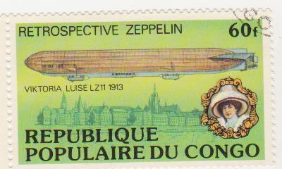 "Марка поштова гашена. ""Retrospeсtive Zeppelin"". ""Viktoria Luise"" LZ 11 1913"". Republique populaire du Congo"""