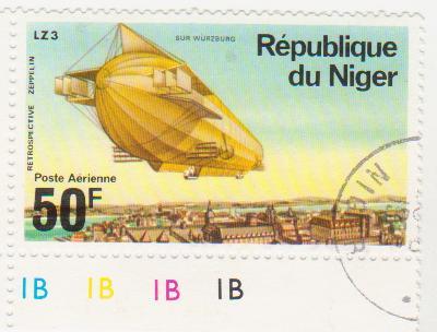 """Марка поштова гашена. """"Retrospeсtive Zeppelin"""". LZ 3 """"Sur Würzburg"""". Republique du Niger"""""""