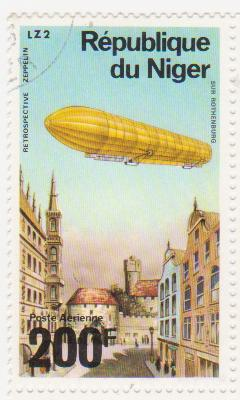 "Марка поштова гашена. ""Retrospeсtive Zeppelin"". LZ 2 ""Sur Rothenburg"". Republique du Niger"""