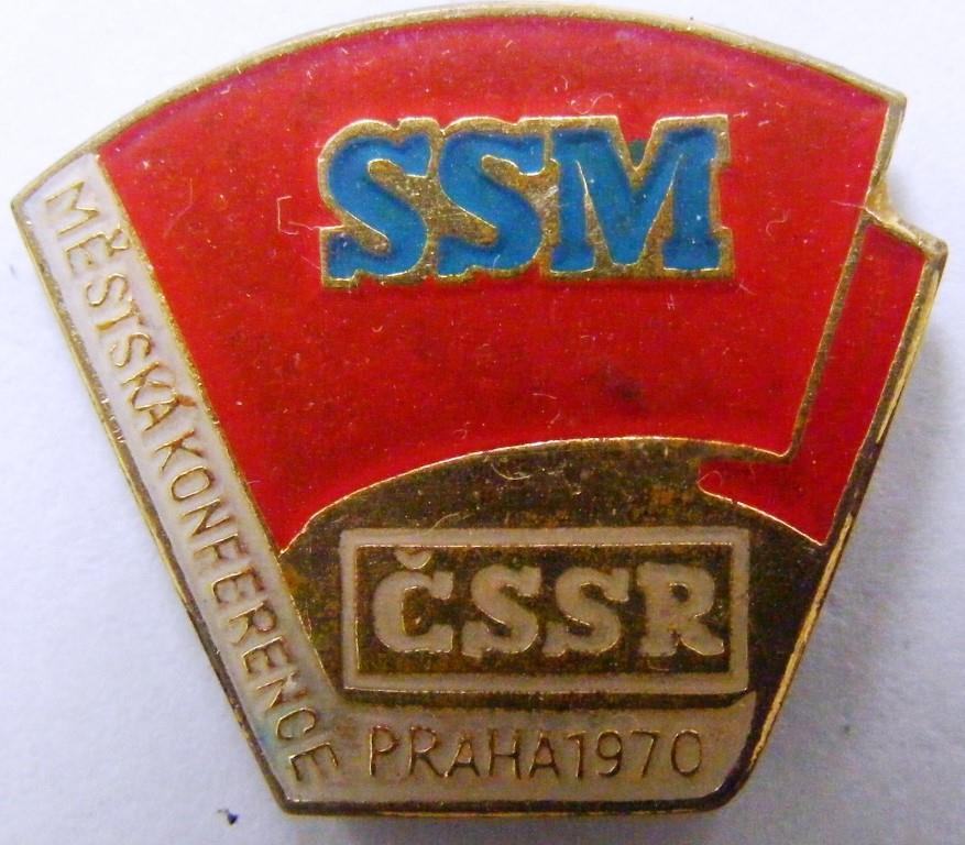 "Значок нагрудний. ""Mestska konference. SSM. CSSR. Praha. 1970"""