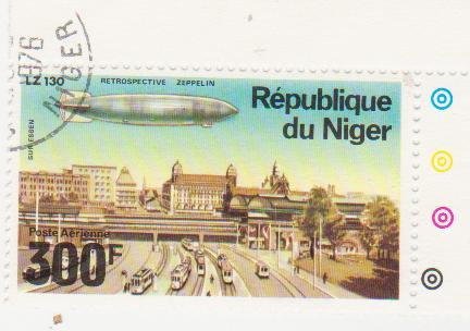 "Марка поштова гашена. ""Retrospeсtive Zeppelin"". LZ 130 ""Sur Essen"". Republique du Niger"""