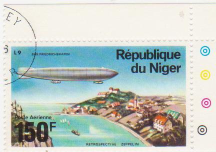 "Марка поштова гашена. ""Retrospeсtive Zeppelin"". L 9 ""Sur Friedrichshafen"". Republique du Niger"""