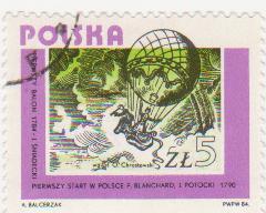"""Марка поштова гашена. """"Pierwszy balon 1784 - J. Sniadecki. Pierwszy start w Polsce P. Blanchard, J. Potocki. 1790. Polska"""""""