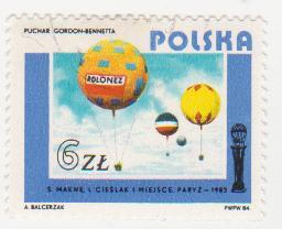 "Марка поштова гашена. ""Puchar Gordon-Bennetta. ""Polonez"". S. Makne, I. Cieslak, I miejsce. Paryz - 1983.  Polska"""