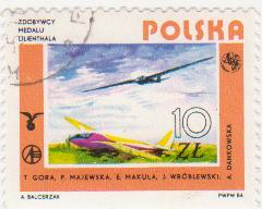 "Марка поштова гашена. ""Zdobywcy medali Lilienthala. T. Cora, P. Malewska, E. Makula, J. Wroblewski, A. Dankowska. Polska"""