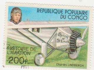 "Марка поштова гашена. ""Spirit of St. Louis"". Charles Lindbergh. Histoire de L'aviation. Republique populaire du Congo"""