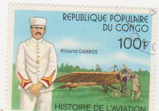 """Марка поштова гашена. """"Roland Garros. Histoire de L'aviation. Republique populaire du Congo"""""""