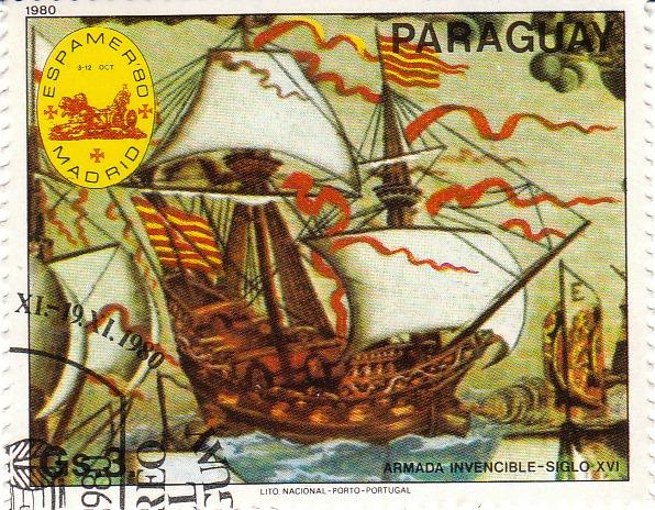 """Марка поштова гашена. """"Armada invencible - Siglo XVI. Lito Nacional Porto – Portugal. Paraguay"""". 1980"""