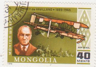 """Марка поштова гашена. """"Geoffrey de Havilland. 1883-1965. Mongolia"""""""