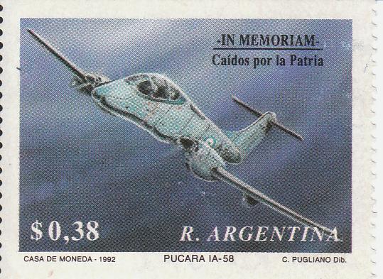 "Марка поштова гашена. ""Puсara IA-58"". In memoriam Caídos por la Patria. R. Argentina"""