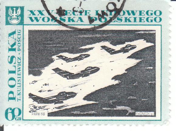 """Марка поштова гашена. """"T.Kulisiewicz """"Poscig"""". XXV-lecie Ludowego Wojska Polskiego. Polska"""""""