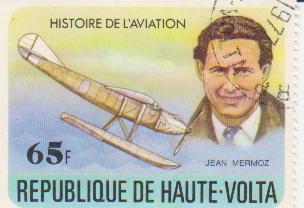 """Марка поштова гашена.  """"Jean Mermoz. Histoire de l'aviation.  Republique de Haute Volta"""""""