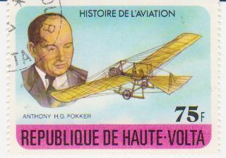 """Марка поштова гашена. """"Antony H. G. Fokker.  Histoire de l'aviation. Republique de Haute Volta"""""""