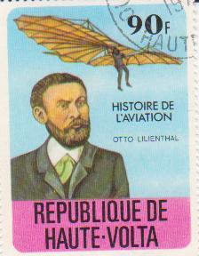 """Марка поштова гашена. """"Otto Lilienthal. Histoire de l'aviation.  Republique de Haute Volta"""""""