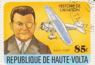 "Марка поштова гашена "" Wiley Post . Historie de l'eviation. Republique de Haute Volta"""