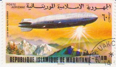 """Марка поштова гашена. """"LZ 130. Sur Alpes Suisses. Republique Islamique de Mauritanie"""""""