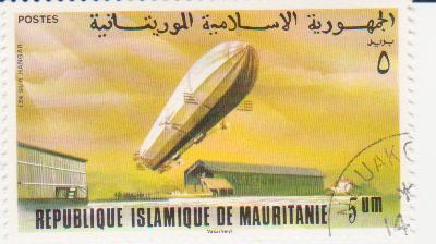 """Марка поштова гашена. """"LZ 4. Sur Hangar. Republique Islamique de Mauritanie"""""""