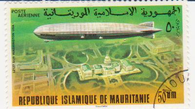 "Марка поштова гашена. ""LZ 127. Sur Washington USA. Republique Islamique de Mauritanie"""