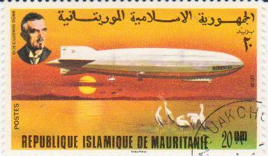 """Марка поштова гашена. """"LZ 120 """"Bodensee"""". Dr. H. C. Ludwig Dürr. Republique Islamique de Mauritanie"""""""