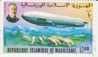 """Марка поштова гашена. """"Schwaben"""" LZ 10 sur Pysage Allemand. Dr. Hugo Eckener. Republique Islamique de Mauritanie"""""""