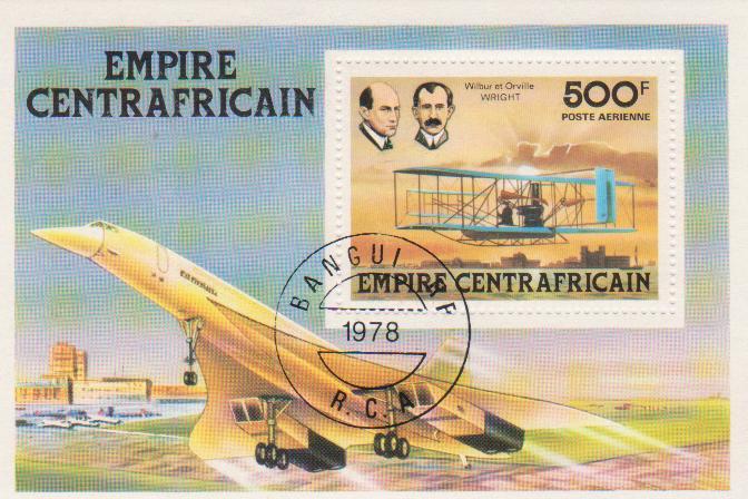 """Марка-блок поштова гашена. """"Wilbur et Orville Wright. Empire Centrafricaine"""""""