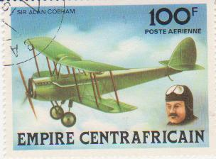 "Марка поштова гашена. ""Sir Alan Cobham. Empire Centrafricaine"""