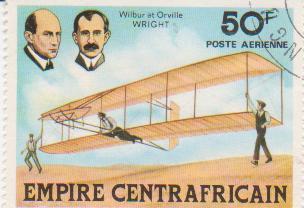 "Марка поштова гашена. ""Wilbur et Orville Wright. Empire Centrafricaine"""
