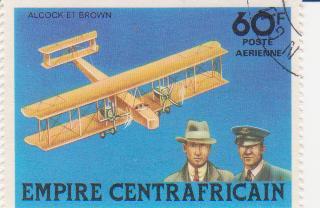"""Марка поштова гашена. """"Alcock et Brown. Empire Centrafricaine"""""""