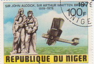 "Марка поштова гашена. ""Sir John Alcock, Sir Arthur Whitten Brown. 1919-1979. Republique du Niger"""