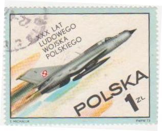 """Марка поштова гашена. """"XXХ lat Ludowego Wojska Polskiego. Polska"""""""
