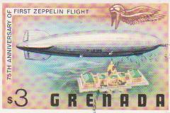 "Марка поштова гашена. ""LZ-127. 75th anniversary of first Zeppelin flight. Grenada"""