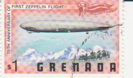 "Марка поштова гашена. ""Граф Цеппелін"". 75th anniversary of first Zeppelin flight. Grenada"""