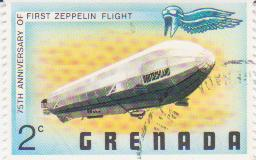 "Марка поштова гашена. ""LZ-7 ""Deutschland"". 75th anniversary of first Zeppelin flight. Grenada"""