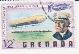 "Марка поштова гашена. ""Граф Цеппелін. 75th anniversary of first Zeppelin flight. Grenada"""