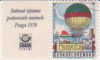 """Марка поштова гашена. """"Jefffries, Blanchard 1785"""". Svetova vystava postovnich znamek Praga 1978. Ceskoslovensko"""""""