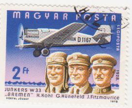 "Марка поштова гашена. ""Junkers W 33 ""Bremen"". H. Köhl, G. Hünefeld, J. Fitzmaurice. 1928"""