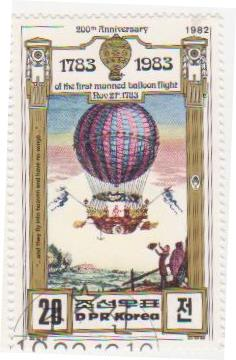 "Марка поштова гашена. ""200th Anniversary of The First Manned Balloon Flight. Nov 21 st. 1783. DPR Korea"""