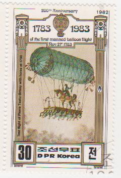 "Марка поштова гашена. ""First flight of Pierrе Testu Brissy with horse of 1798. 200th Anniversary of The First Manned Balloon Flight. Nov 21 st. 1783. DPR Korea"""